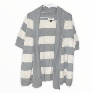 Sonoma Striped Short Sleeve Open Front Cardigan L